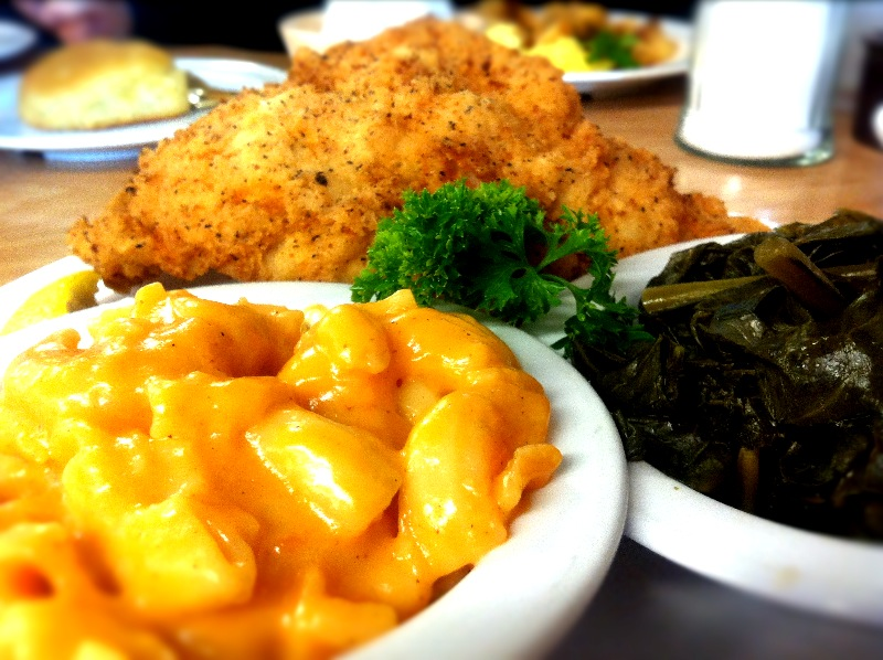 Fried Catfish, Collard Greens and Macaroni & Cheese at The Serving ...