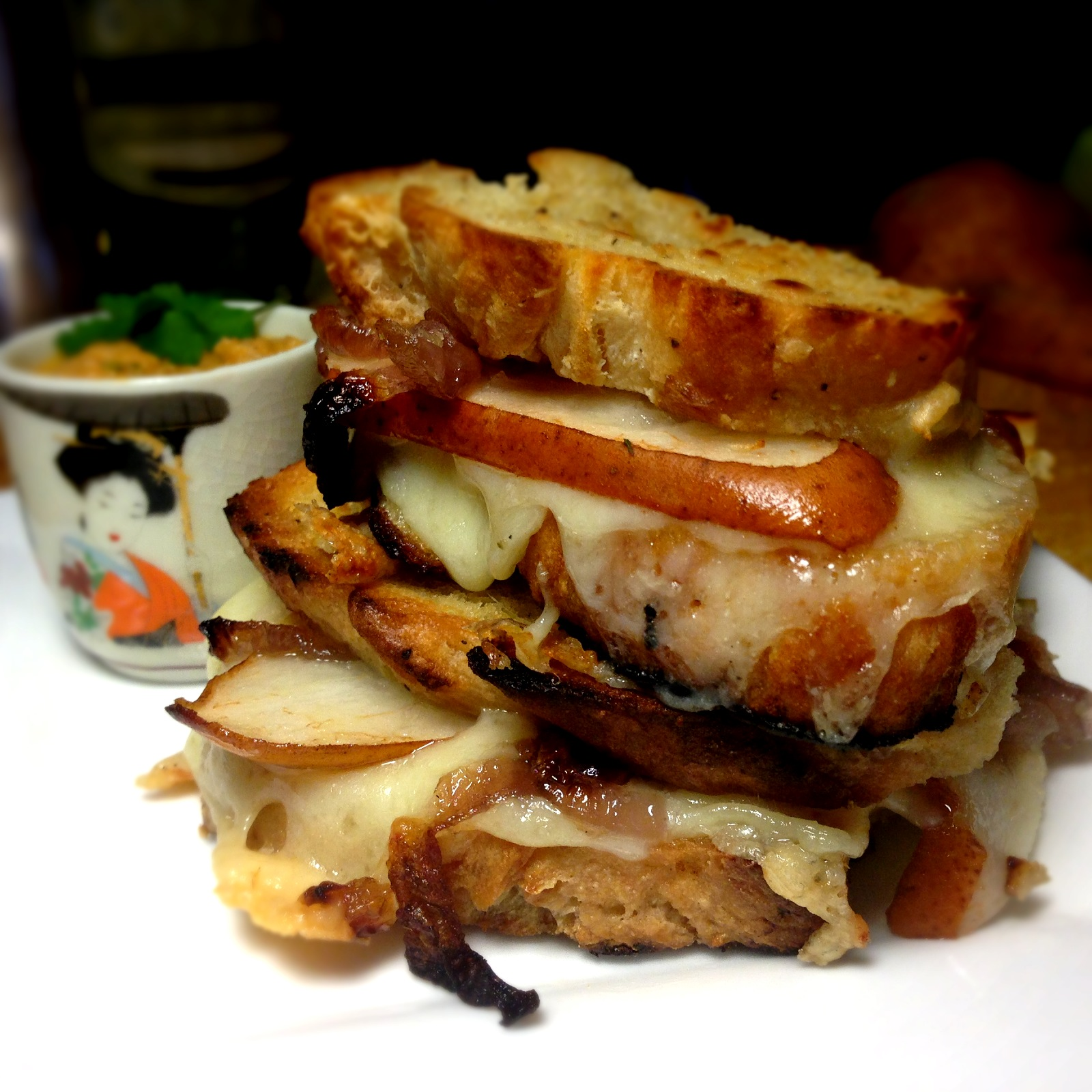 Pear, Gruyere & Caramelized Onion Grilled Cheese Sandwich with a Shot ...