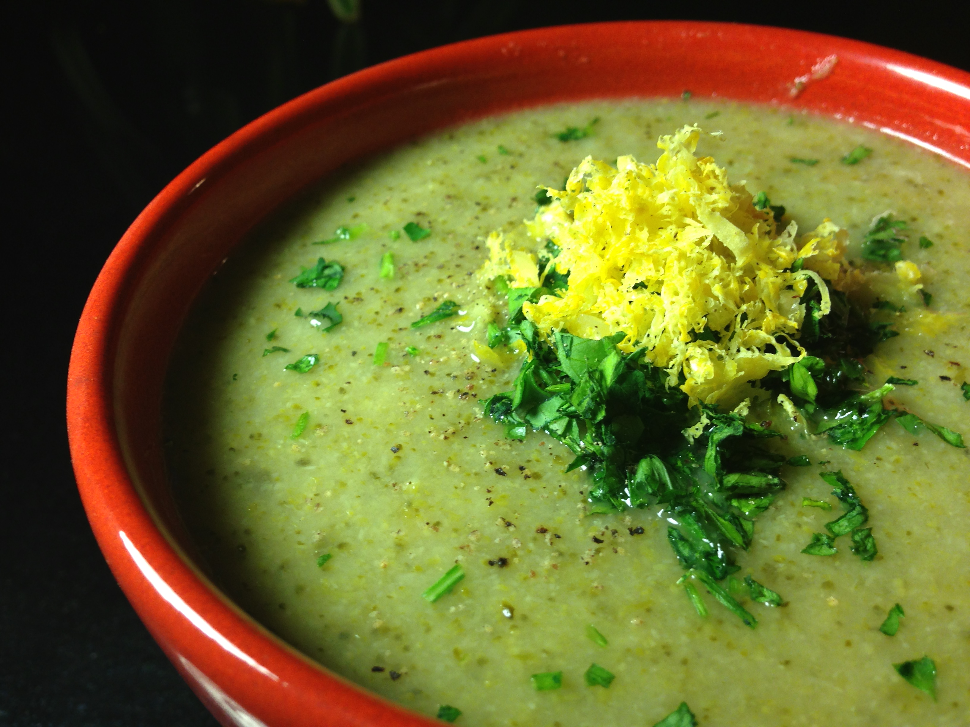 Vegan Broccoli Soup with Avocado & Jalapeno or Basil oil or Gremolata ...