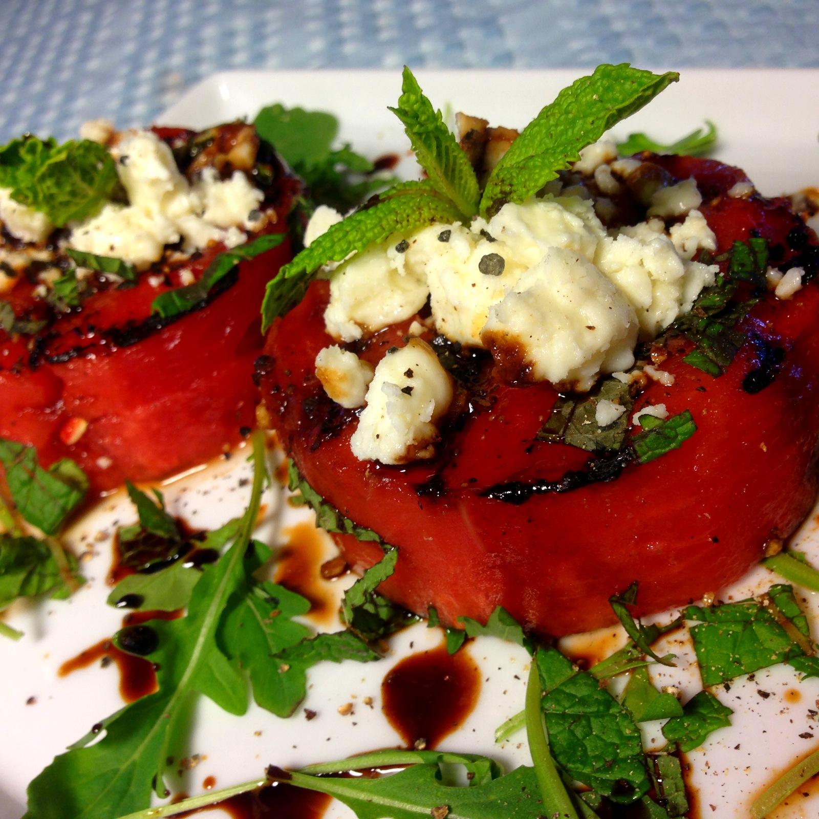 Grilled Watermelon & Feta Salad With Mint, Arugula