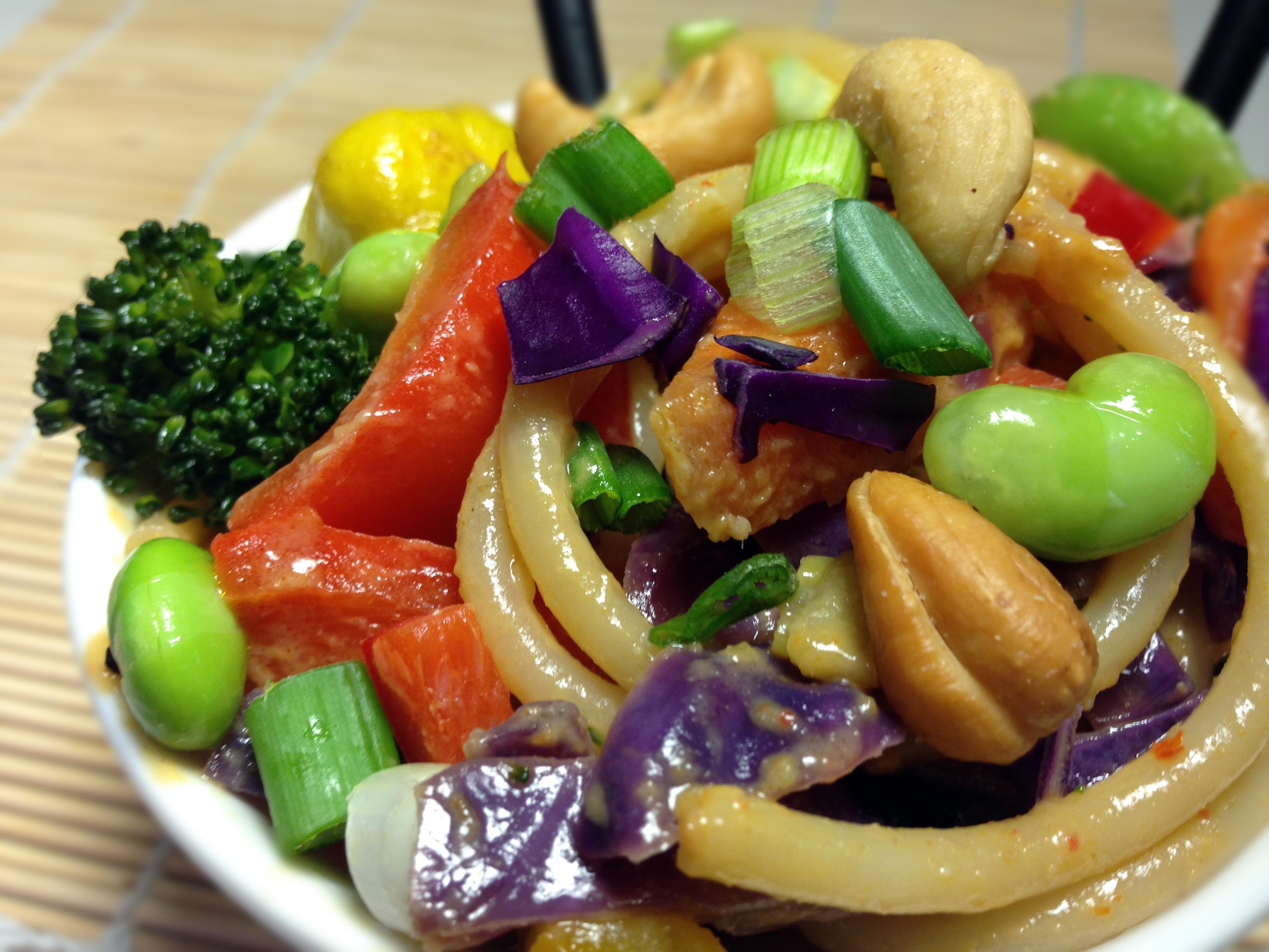 Vegan Garden Veggie Spicy Thai Peanut Noodles With -1558