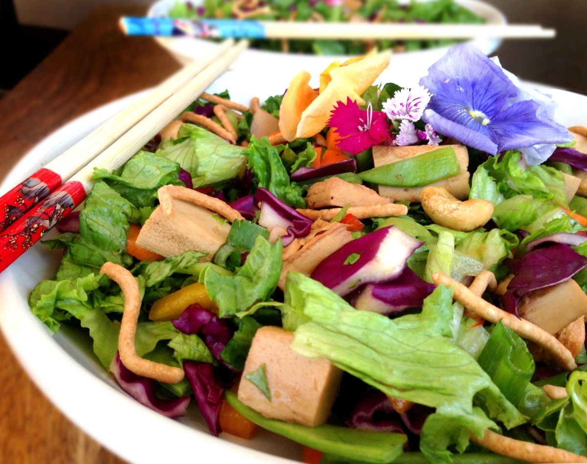 Healthy Vegan Chinese Chicken Salad with Spicy Asian Dressing ...