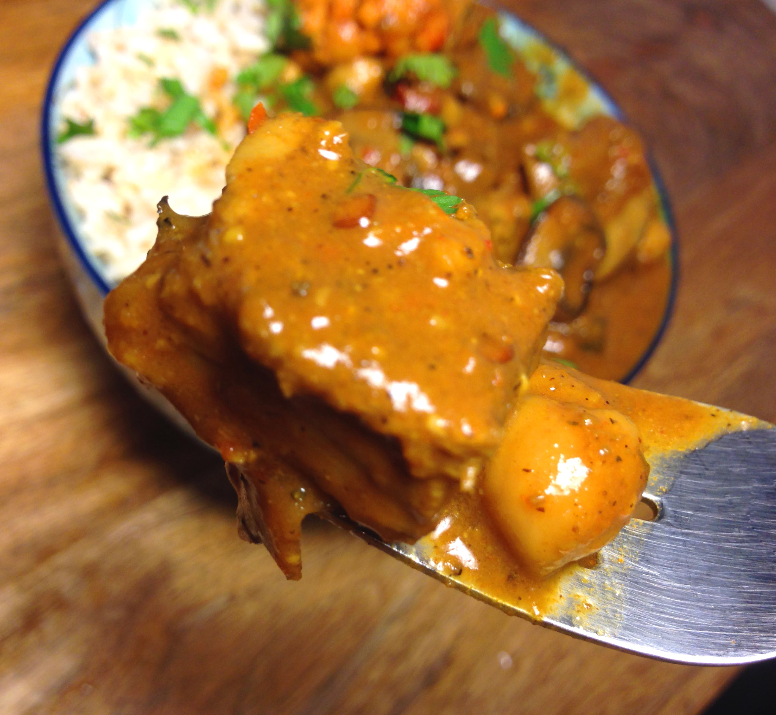 Spicy Vegan Chicken And Mushroom Curry With Cauliflower And
