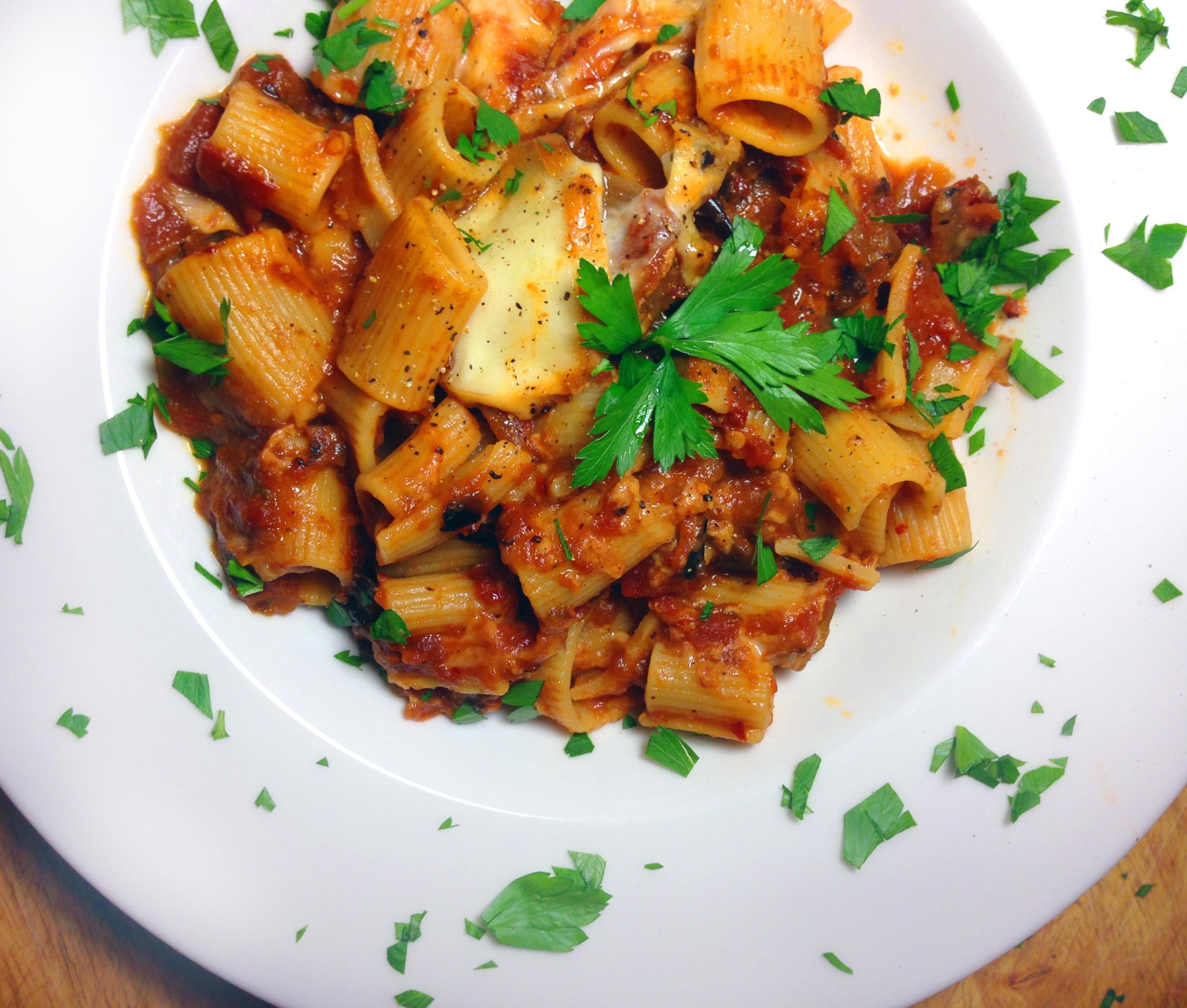 Rigatoni With Eggplant And Pine Nut Crunch Recipe — Dishmaps