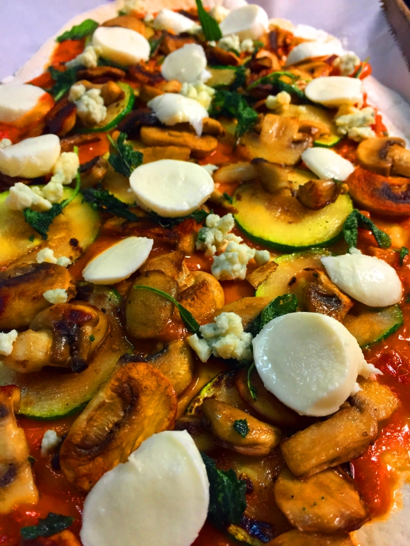 3-Mushroom, Zucchini & Fried Sage Pizza with Blue Cheese ...