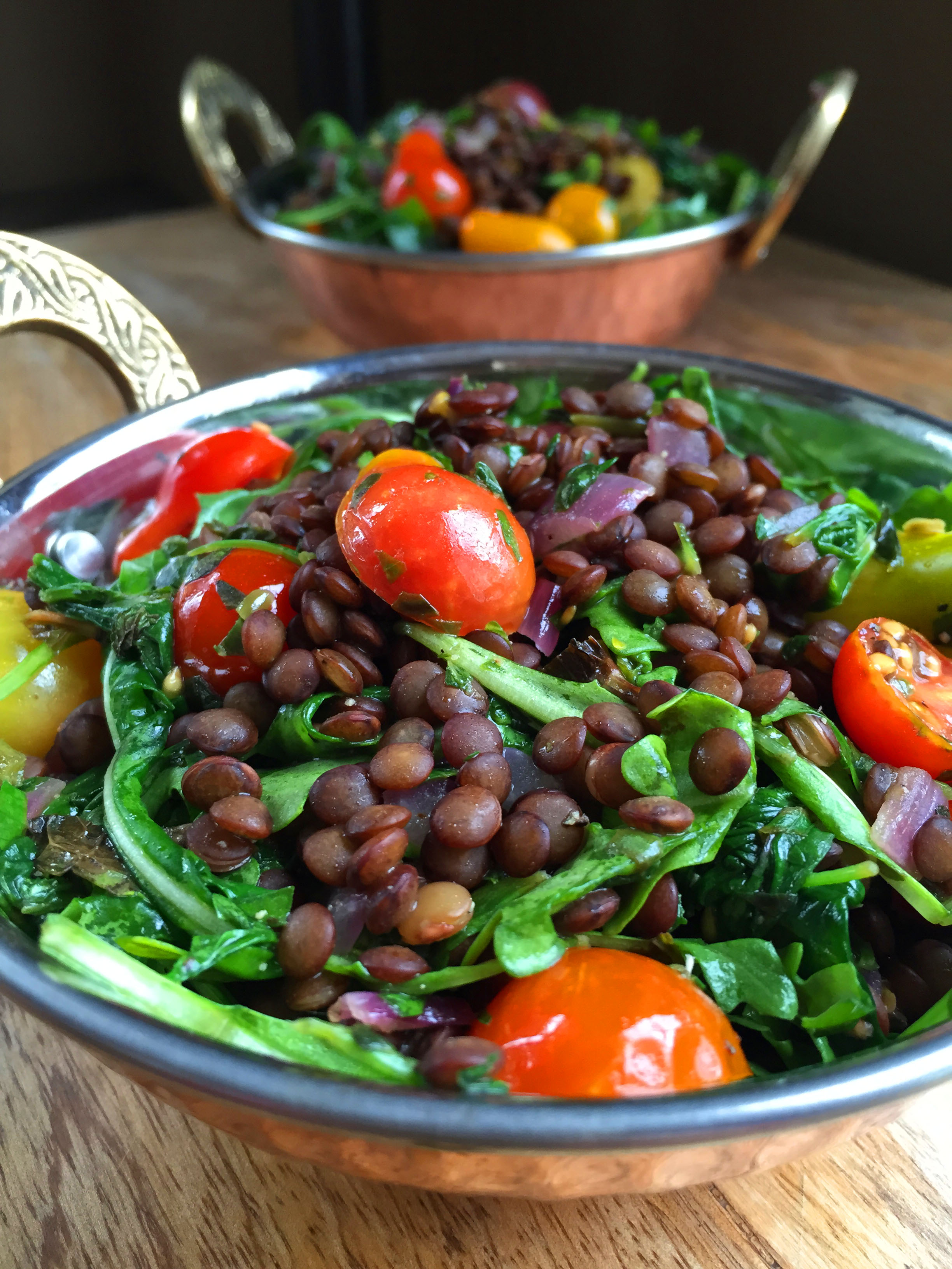 Vegan Herbed French Lentil Salad with Wilted Spinach ...