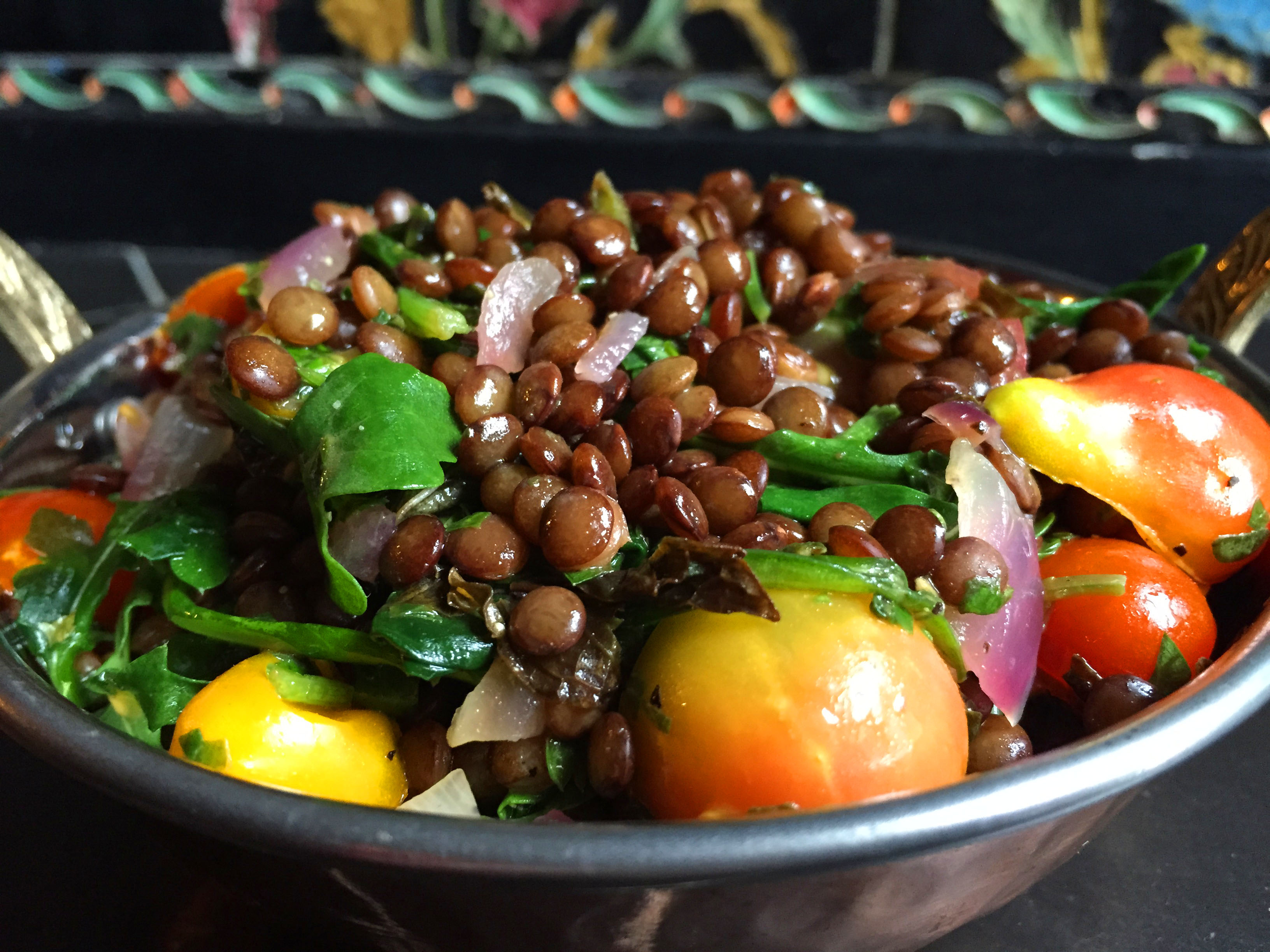 Vegan Herbed French Lentil Salad with Wilted Spinach & Arugula ...
