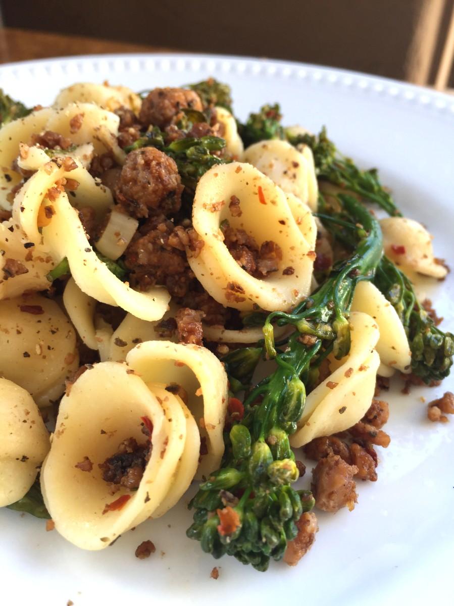 Pasta With Vegan Beef Amp Broccolini Delightful Delicious