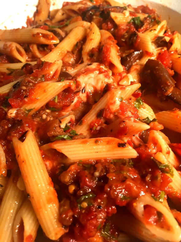 Baked Vegetarian Penne Pasta Alla Siciliana With Smoked