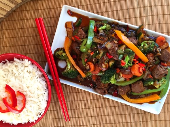 Spicy vegan szechuan beef vegetable stir fry delightful this is really easy does not use any ingredients that are especially exotic i added way too many hot peppers blasted my face off with this one so forumfinder Image collections
